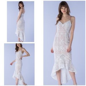 Do & Be Lace Flare Trumpet Bridal Cocktail Dress L